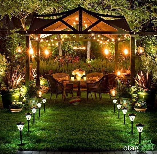 نورپردازی باغ ویلا و استخر با چراغ دفنی و چراغ استخری